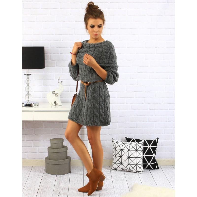 a0396e39a6e3 Dámske krátke šaty nad kolená s dlhým rukávom v tmavo sivej farbe s ...