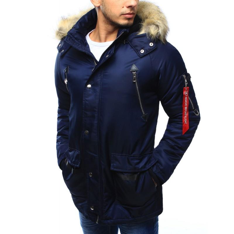 Pánska predlžená zimná bunda s hnedou kožušinou na kapucni na zips s ... 61c4ec3fa16