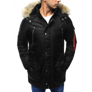 Čierna pánska zimná bunda s hnedou kožušinou na kapucni so zipsom