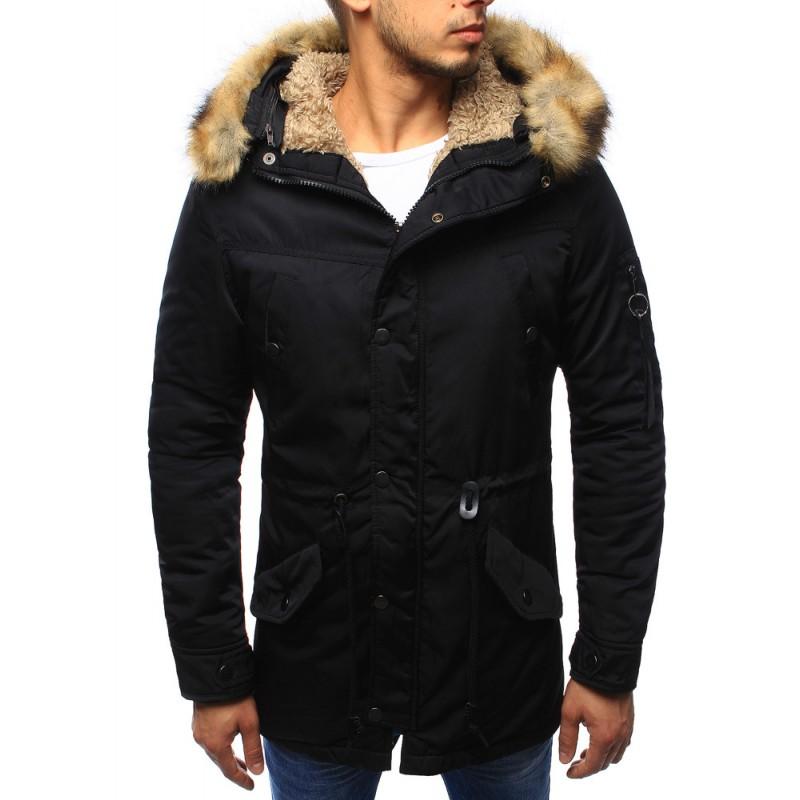 Pánska čierna zateplená zimná bunda s hnedou kožušinou na kapucni so ... a175c271b31