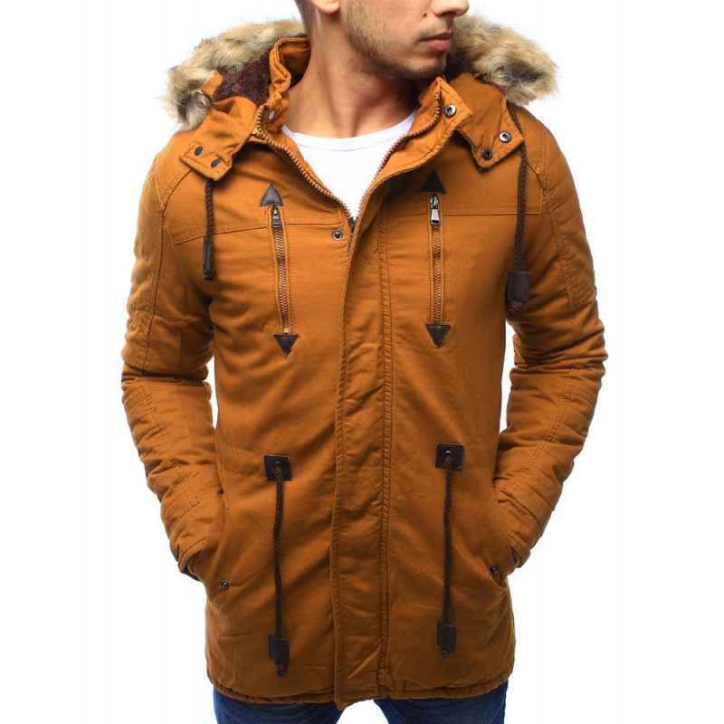 Žltá pánska zateplená predlžená bunda na zimu s kožušinovou hnedou ... a24fa7daa77