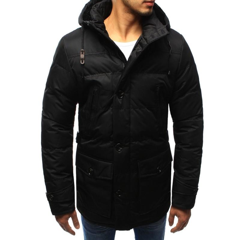 Predchádzajúci. Čierna zimná pánska predlžená zimná bunda s ozdobným hnedým  remienkom na kapucní ... 14f103a5fb7