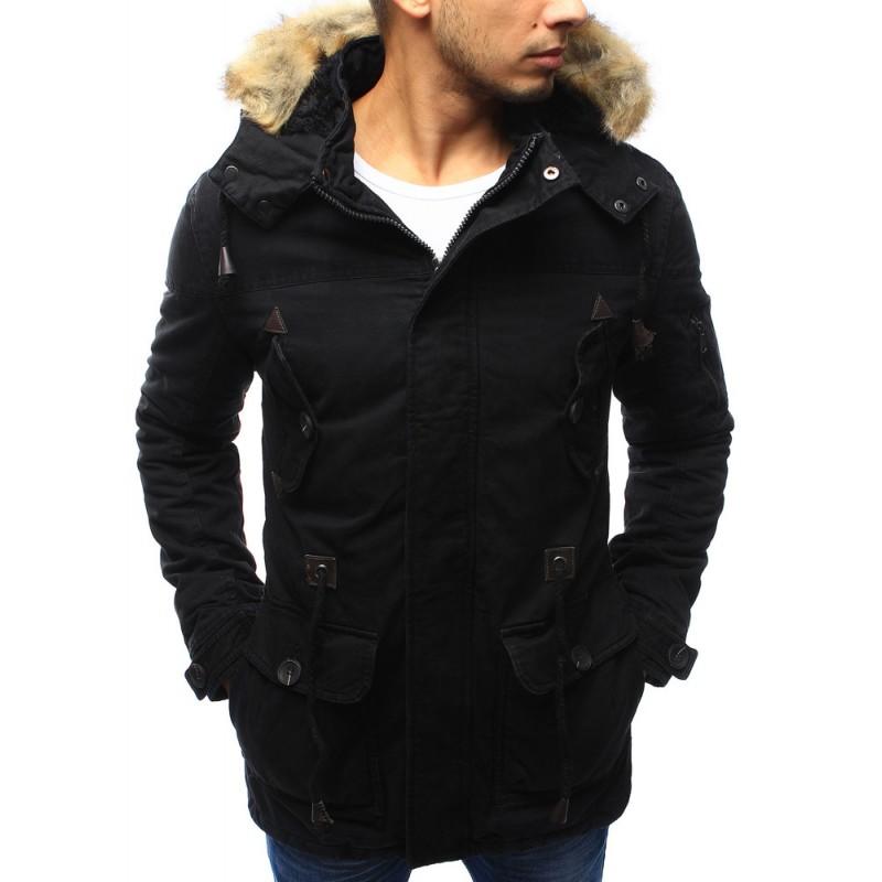 Predchádzajúci. Zimná pánska predlžená a zateplená bunda v čiernej farbe s  kožušinovou hnedou kapucňou ... 26c8ca0afa4