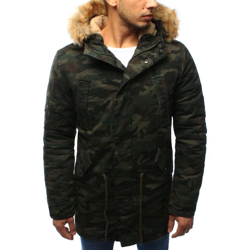 6cf71be23873 Maskačová pánska predlžená bunda na zimu v zelenej farbe s ...
