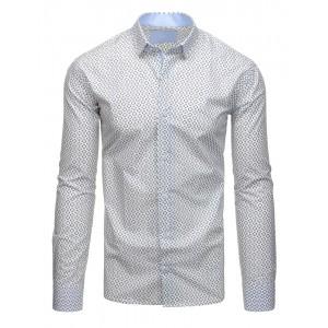 Biela pánska bavlnená košeľa so vzorom a dlhým rukávom
