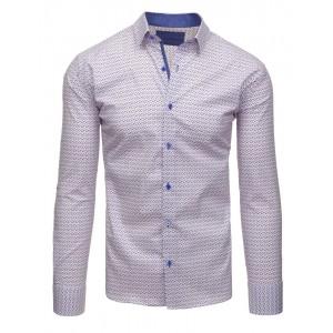 Biele pánske slim fit košele so vzorom a modrými gombíkmi