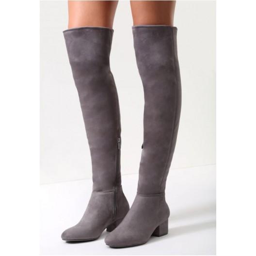 Jednoduché dámske vysoké čižmy sivej farby - fashionday.eu 0ea34a8094c