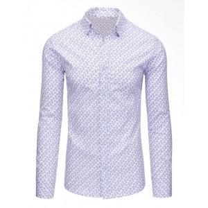 Pánske košele slim fit v bielej farbe so vzorom a dlhým rukávom