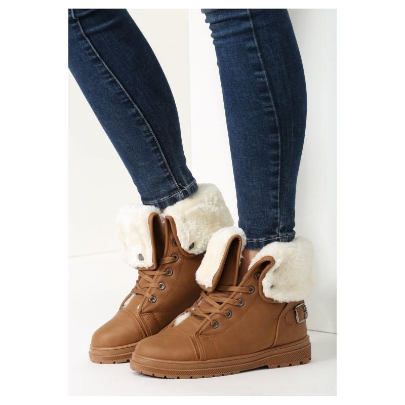 f3230d9d0d Dámske zimné topánky hnedej farby s bielou kožušinou - fashionday.eu