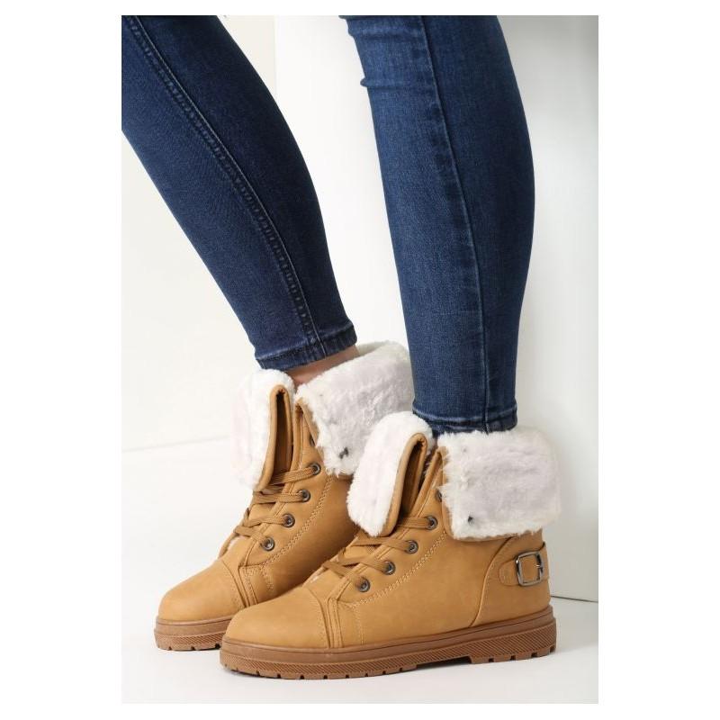 49f3269b1a Dámske hnedé topánky na zimu na šnúrovanie s kožušinou - fashionday.eu