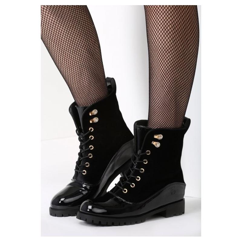 Moderné dámske topánky na zimu so šnúrovaním čiernej farby ... edbc29dae74