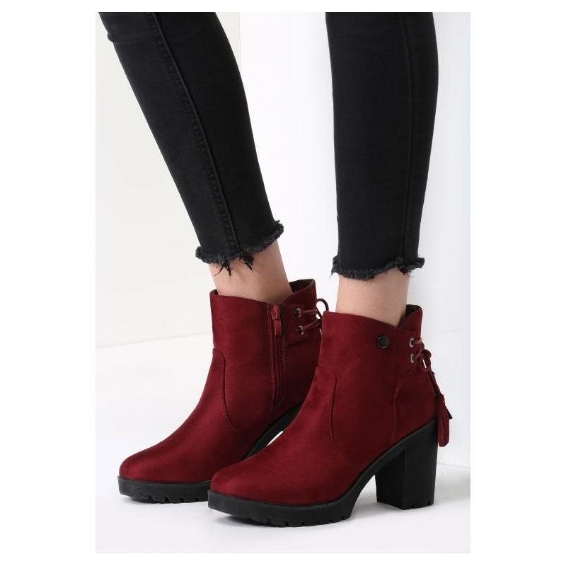 Bordové dámske topánky na zimu s vysokým podpätkom - fashionday.eu dfd384cb9e8