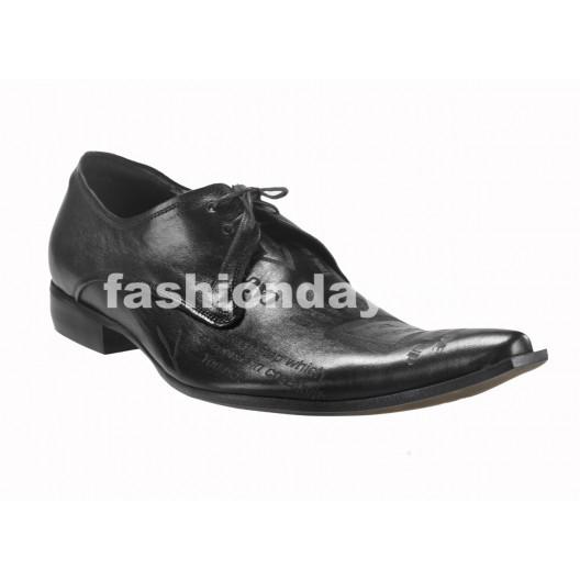 Pánske kožené extravagantné topánky čierne PT126