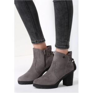 Sivé dámske členkové topánky na zimu s vysokým podpätkom