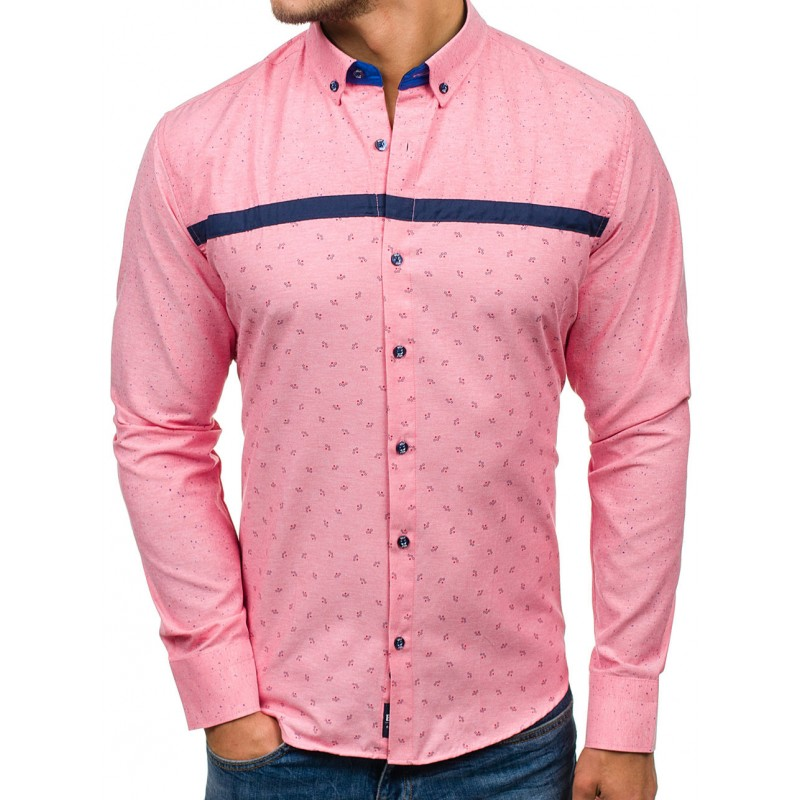 87f5f886e1a5 Ružová pánska vzorovaná košeľa s dlhým rukávom a zapínaním na ...
