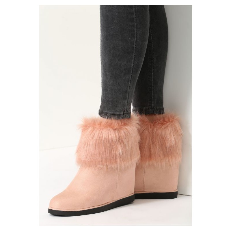 f063858ecaa9e Predchádzajúci. Rúžové dámske vysoké topánky na zimu s kožušinkou ...
