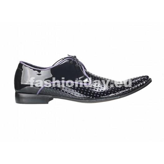 Pánske kožené extravagantné topánky čierne PT127
