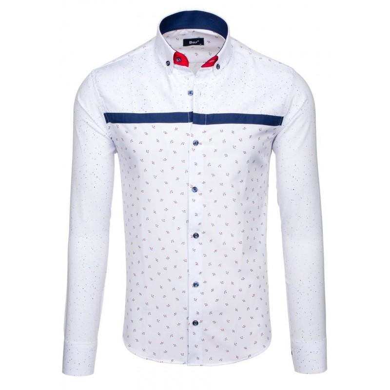 09daf8ef88d9 Elegantná biela pánska košeľa s modrým vzorom a dlhým rukávom ...