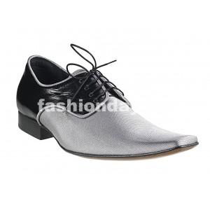 Pánske kožené extravagantné topánky čierno-strieborné