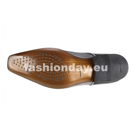 Pánske kožené extravagantné topánky čierno-strieborné  PT128