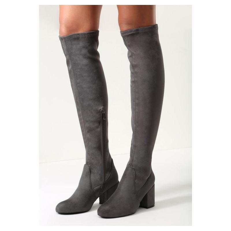 Dámske vysoké čižmy nad kolena na zimu v tmavo sivej farbe s hrubým ... 42793c01111