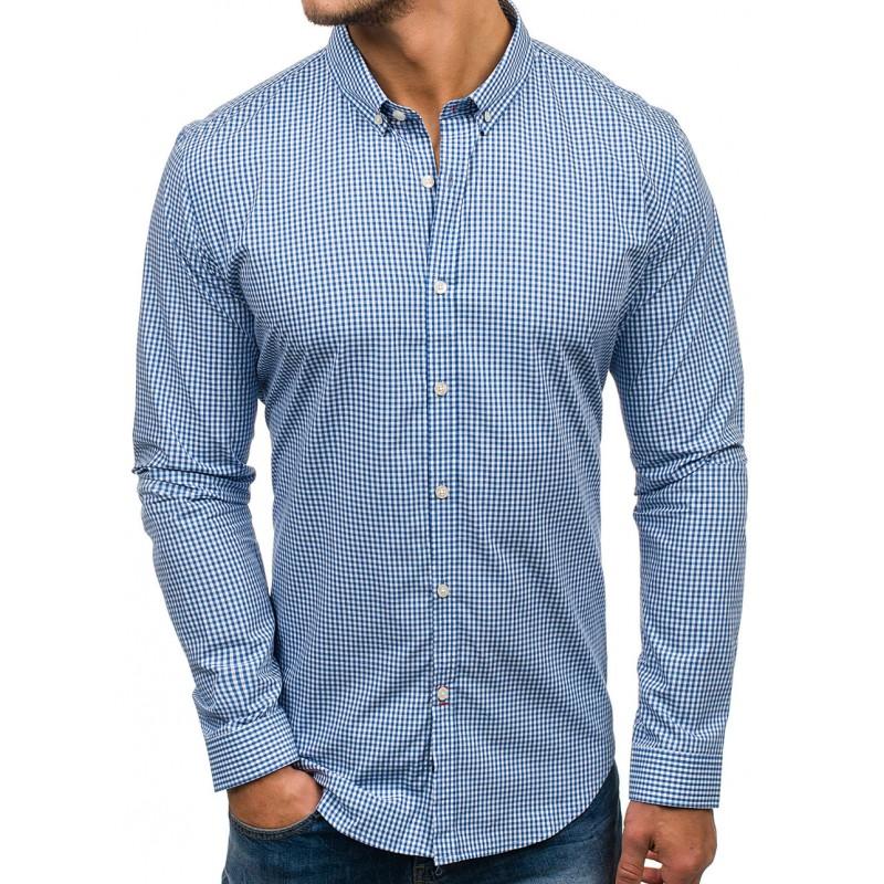 bc07f8d2d2d0 Károvaná pánska košeľa modrej farby s dlhými rukávmi vhodná na každú ...