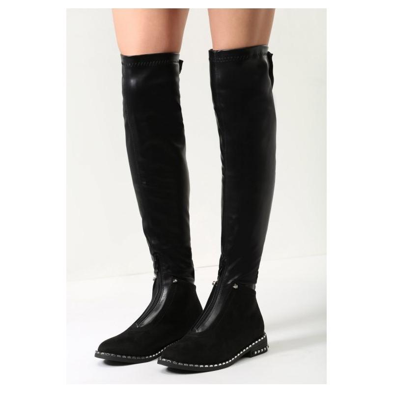 Čierne dámske vysoké čižmy nad kolená semišovo kožené so zipsom na ... c3519328990