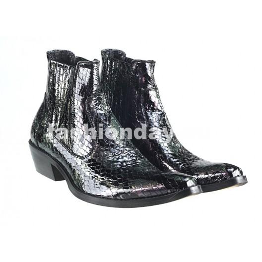 Pánske kožené kovbojky čierne PT129