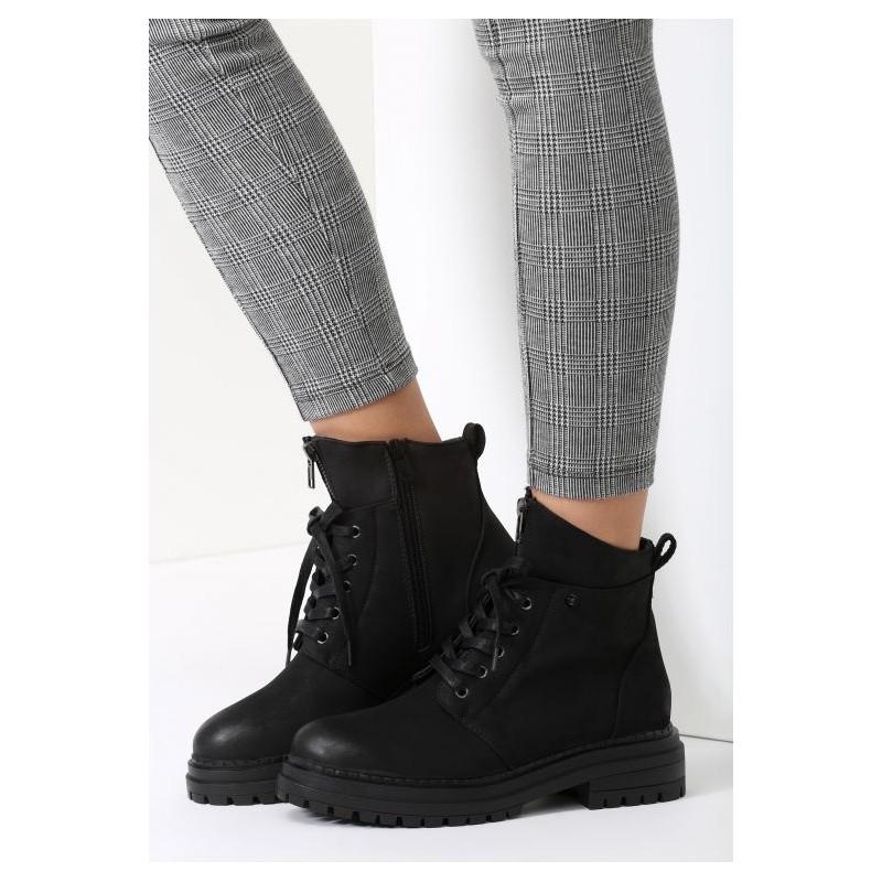 4748fda353 Čierne dámske zateplené topánky na zimu s hrubou podrážkou a ...
