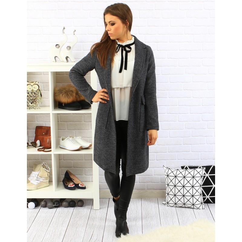 Elegantný dámsky predlžený kabát v sivej farbe s veľkými vreckami a ... a8b534725c7
