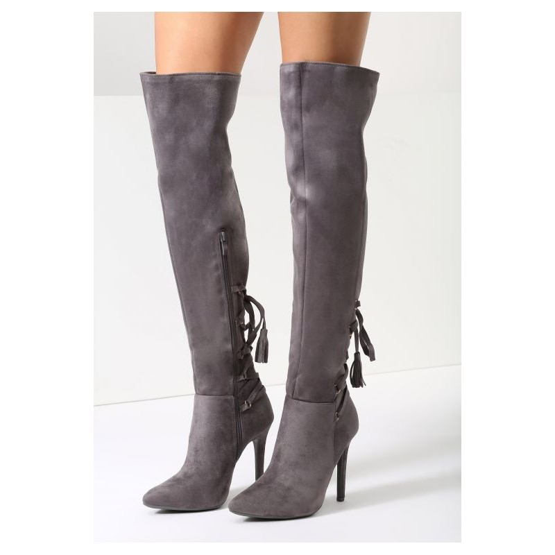 0344412211 Vysoké dámske zimné čižmy sivej farby s vysokým podpätkom a zipsom ...