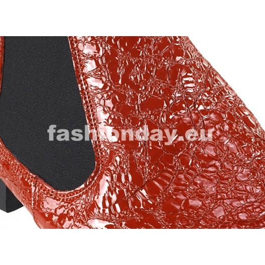 Pánske kožené topánky červené PT137