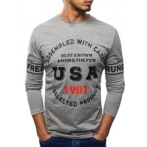 Pánske tričko sivej farby s dlhým rukávom a farebnou potlačou