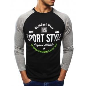 Športové pánske tričko čiernej farby s dlhým rukávom a nápisom