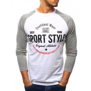 Biele pánske tričká s dlhým rukávom sivej farby