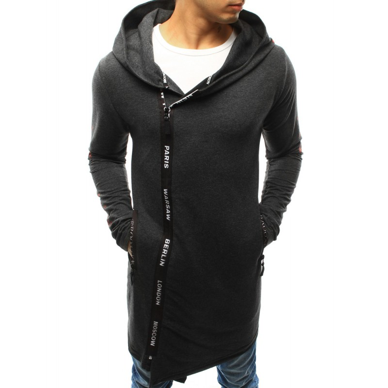 Dlhé pánske mikiny sivej farby s kapucňou a zapínaním na zips ... 3c31d879537