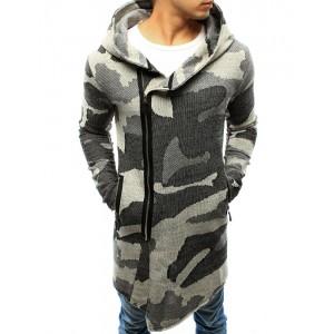 Moderný pánsky dlhý sveter sivej farby v army štýle s kapucňou a zipsom
