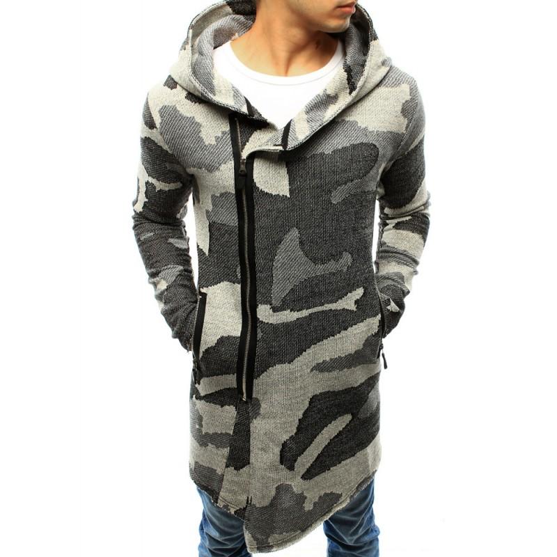 d1eeb1c5346e Moderný pánsky dlhý sveter sivej farby v army štýle s kapucňou a ...