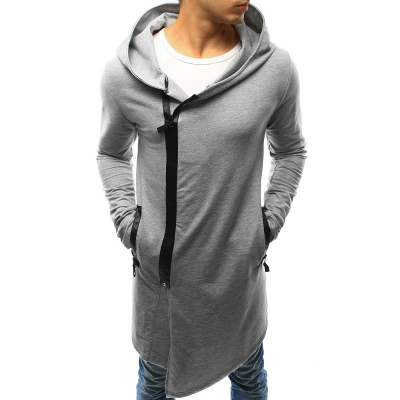 Sivá pánska mikina s kapucňou a zapínaním na zips - fashionday.eu 9bd31a9d8b0