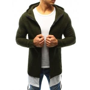 Pletený pánsky sveter zelenej farby so zipsom a kapucňou