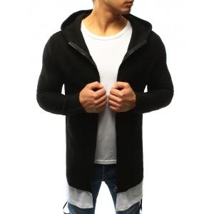 Elegantný pánsky pletený sveter čiernej farby s kapucňou a zapínaním na zips