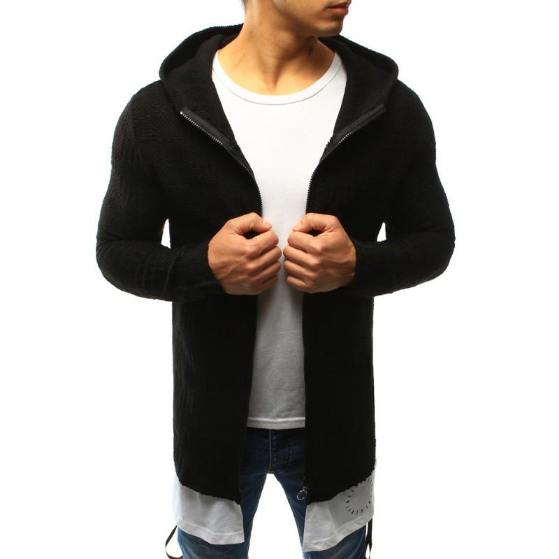 687e0876e0ee Elegantný pánsky pletený sveter čiernej farby s kapucňou a zapínaním ...