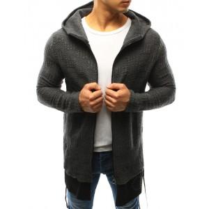 Tmavo sivé pánske bavlnené svetre s čiernym zipsom a kapucňou