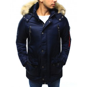 Pánska tmavo modrá zimná bunda s odnímateľnou kapucňou a kožušinou