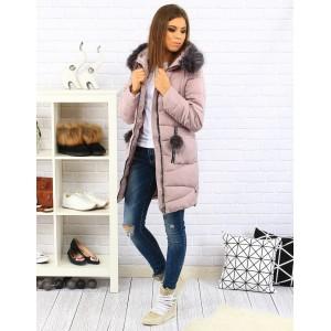 Ružová dámska zateplená bunda na zimu so zipsom a odnímateľnou kožušinou