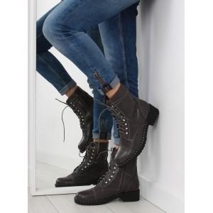 Sivé elegantné dámske zimné topánky na šnúrovanie a zips