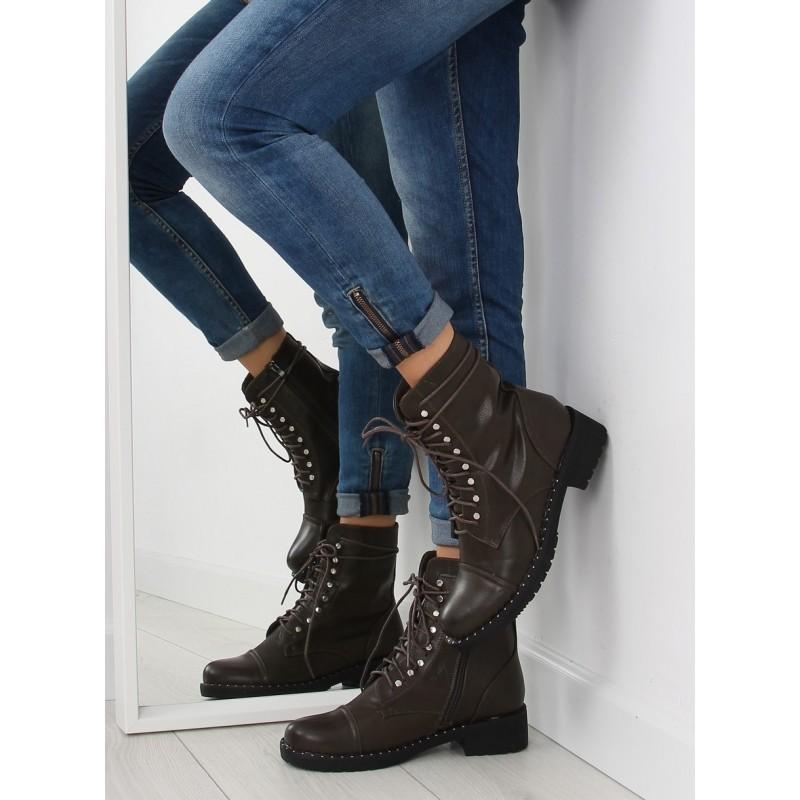 Dámske zimné topánky s kamienkami na šnúrovanie a zips zelenej farby ... 24e01e2747f
