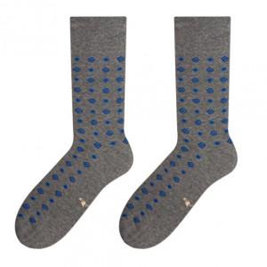 Pohodlné bavlnené pánske ponožky s kryštáľovým vzorom modrej farby