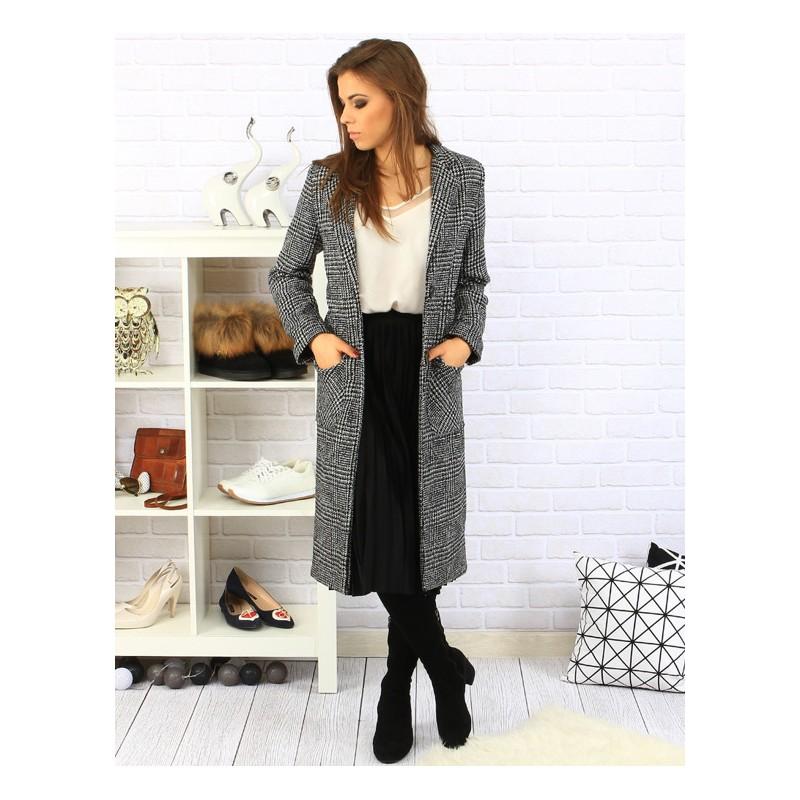 0e91241adf Dlhý dámsky károvaný kabát s vreckami čiernej farby - fashionday.eu