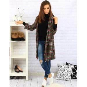 Farebný dámsky dlhý kabát s kockovaným vzorom
